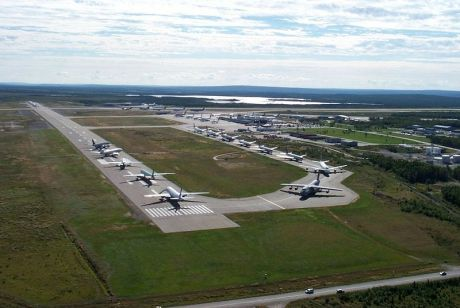 Planes parked at Gander Airport 9 Sept 2001