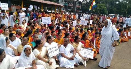 Members of the Jain community staging a demonstration in front of the Deputy Commissioner's offic,e in protest against the Rajasthan High Court judgment on 'Santhara', in Belagavi on Monday.