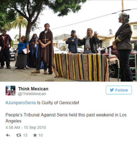Junípero Serra protest on Twitter
