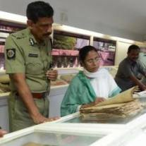 Mamata Banerjee with the Netaji files in Kolkata