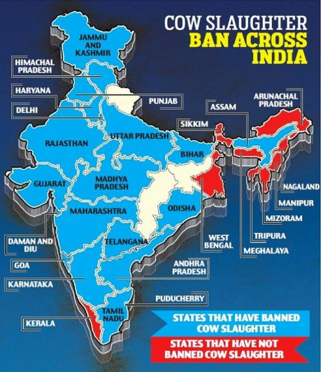India Cow Slaughter Ban Map