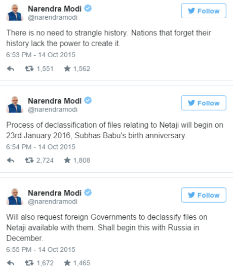 Modi's Tweets (14 Oct 2015)