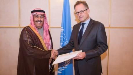 Faisal bin Hassan Trad (left), Saudi Arabian ambassador to the UN Office at Geneva (UNOG), presents his credentials to Michael Møller, acting director-general of UNOG on January 7, 2014.