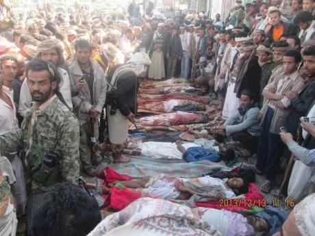 Victims of Saudi air raid that hit a wedding party in Yemen's Taiz province.