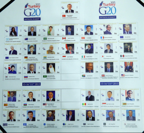 G20 2015 Summit Leaders on Turkish Postage Stamps. Modi's stamp is third from left in second row.