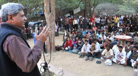 CPIM) General Secretary Sitaram Yechury addressing students at JNU New Delhi