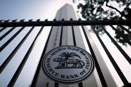 Reserve Bank of India seal on a gate outside the RBI headquarters in Mumbai