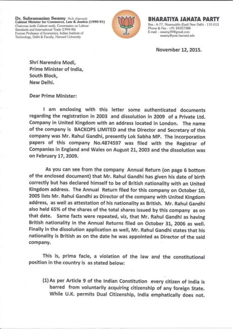 Subramanian Swamy's letter to Narendra Modi (1)