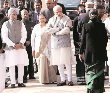Narendra Modi, Sonia Gandhi, Manmohan Singh and Sumitra Mahajan
