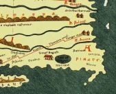 Muziris (Muchiri) port marked on the ancient Roman map Tabula Peutingeriana