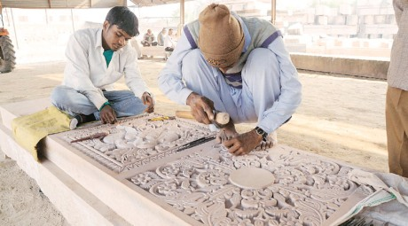 Carving stones for Ram temple at Ayodhya