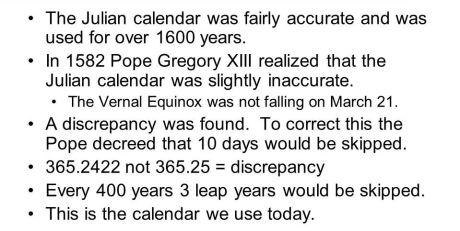 Julian Calendar Inaccurate