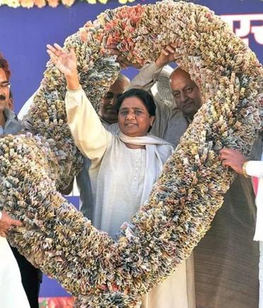 Mayawati's one crore rupee garland