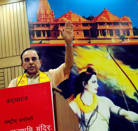 Bharatiya Janata Party (BJP) leader Subramanian Swamy addresses a seminar on the construction of the Ram Temple in Ayodhya, at Delhi University in New Delhi.