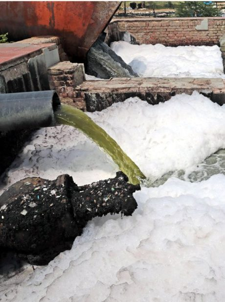 Raw sewage entering the Ganga at Kanpur.