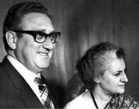 US Secy of State Henry Kissinger seen with Prime Minister Indira Gandhi. (28/10/1974)