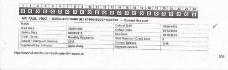 Raul Vinci's Barclays Bank Statement for Account No 504664922071640796