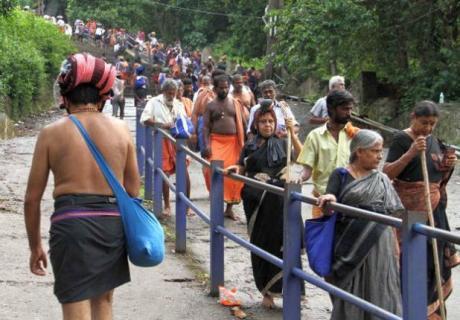 Women yatris returning from Sabarimala.
