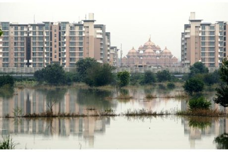 Athletes village surrounded by Yamuna flood water, 2010 Commonwealth Games, New Delhi, India