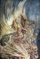Brünnhilde on the horse Grane rides onto Siegfried's funeral pyre.