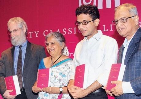 Sheldon Pollock, Sudha Murthy, Rohan Murty, and Narayana Murthy