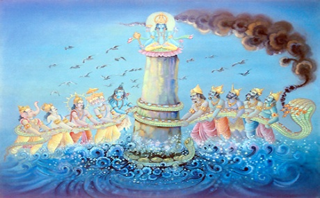 Samudra Manthan: Churning of the milky ocean by the Devas and Asuras