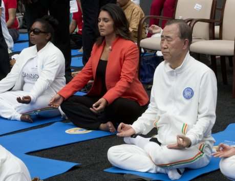 Ban Ki-Moon & Tulsi Gabbard: The International Day of Yoga is being celebrated around the World following recognition by the United Nations General Assembly of the holistic benefits of the ancient Indian practice and its inherent compatibility with the principles and values of the UN. United Nations, New York, USA (June 21 2015)