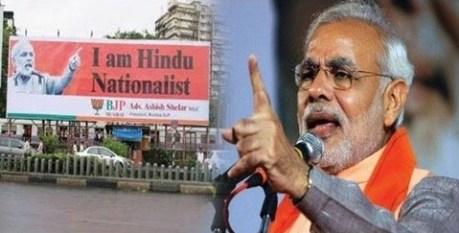 Narendra Modi on campaign in Mumbai for the Hindu vote