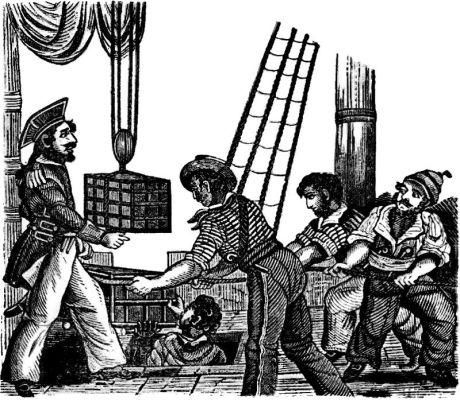 English pirate Henry Every loading treasure from the captured Moghul ship Ganj-i-Sawai near Yemen.