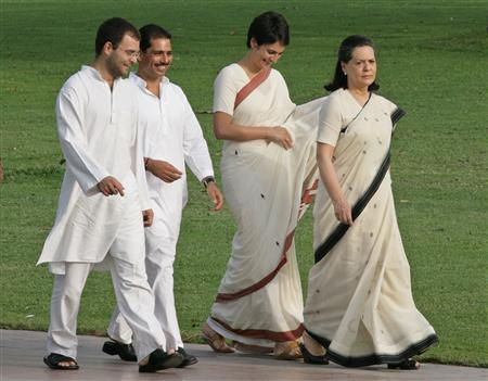 Chief of India's Congress party Sonia Gandhi, her daughter Priyanka Vadera, son-in-law Robert Vadera, and son Rahul Gandhi, walk at Rajiv Gandhi's memorial on the occasion of former Prime Minister's 18th death anniversary in New Delhi in this May 21, 2009.