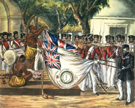 Brahmins blessing the flags of the 35th Bengal Light Infantry at Calcutta (c. 1843).