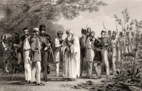 End of the Moghuls : Capture of Bahadur Shah II by William Hodson at Humayun's Tomb in 1857