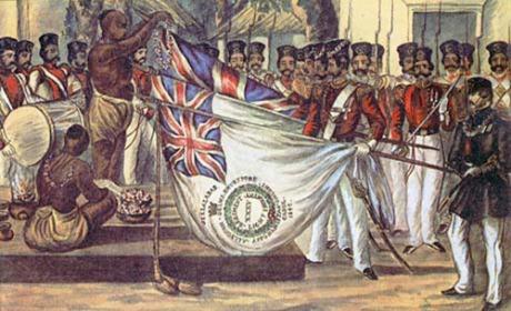 Brahmins blessing British flags