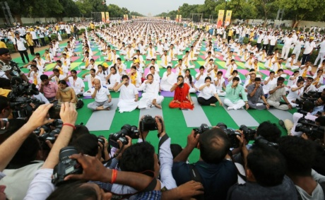 Yoga exponent Ramdev, Union Minister Venkaiah Naidu, BJP MPs Meenakshi Lekhi, Manoj Tiwari and others practice Yoga during a yoga camp ahead of the International Yoga Day on June 21, at Rajpath in New Delhi on Sunday, June 21, 2016