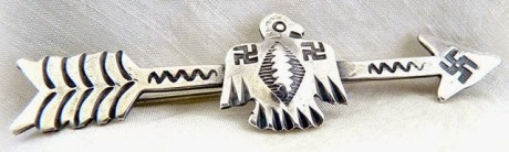 Swastika on Navajo (Native American) silver arrow decoration
