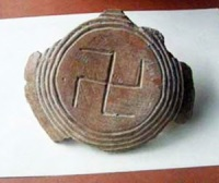 The 7000 year-old swastika-decorated clay pottery fragment was found by archaeologists during excavations of a ritual pit around the village of Altimir near the town of Vratsa, Bulgaria.