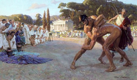 Ancient Greek wrestlers at Olympia