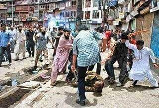 Jihadis stomping a security man in Srinagar 2016