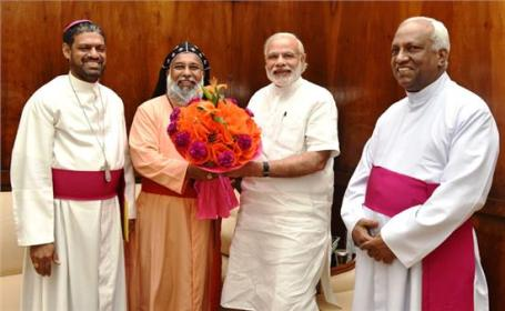 The Office-Bearers of the Catholic Bishops' Conference of India (CBCI) headed by its President, Cardinal Baselios Cleemis and accompanied by the Secretary General, Bishop Theodore Mascarenhas and the Deputy Secretary General, Msgr. Joseph Chinnayyan, met the Prime Minister in his Office in the Parliament