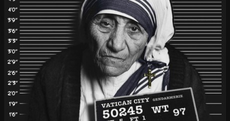 Mugshot of Mother Teresa taken by the Vatican City Gendarmerie