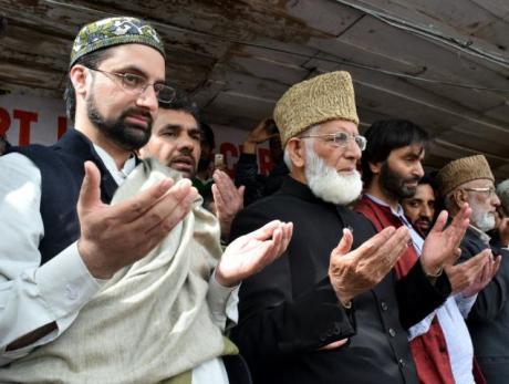 Hurriyat leaders Sayeed Ali Shah Geelani, Mirwaiz Umar Farooq and Mohammad Yasin Malik