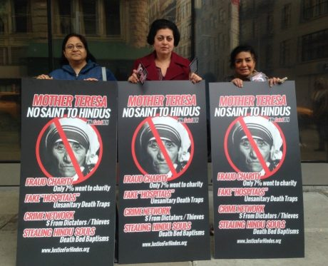 Hindus protest Mother Teresa's criminal activities in New York City