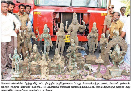 Idols unearthed in Velankanni