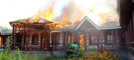 School burning in Kashmir