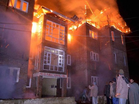 Burning school in Kashmir