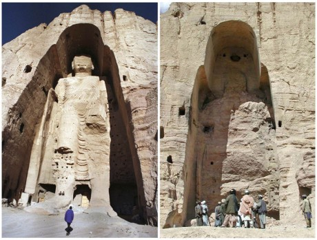 The 180-foot-high Buddha statue in Bamiyan, central Afghanistan on Dec. 18, 1997 (left) and after its destruction on March 26, 2001