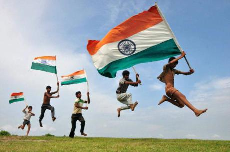 Village boys with Indian flag