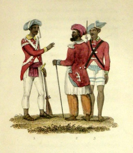 Seapoys : Two officers and a private 1820s.
