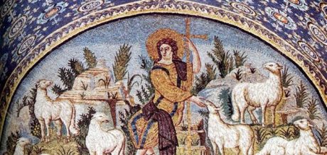 Jesus the Good Shepard. Orphic attributes replaced by cross as shepherd's crook and white sheep for the diversity of animals. Mosaic in the Mausoleum of Galla Placidia, Ravenna, 5th century CE.