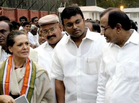 Sonia Gandhi, Karti Chidambaram & P. Chidmbaram